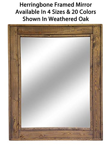 Herringbone Reclaimed Wood Framed Mirror, Available in 4 Sizes and 20 Stain colors: Shown in Weathered Oak - Mirrors Wall Mounted - Bathroom Vanity Mirror - Rustic Home Decor