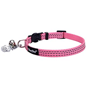 BINGPET Safety Nylon Reflective Cat Collar Breakaway Adjustable Cats Collars with Bell and Bling Paw Charm 34