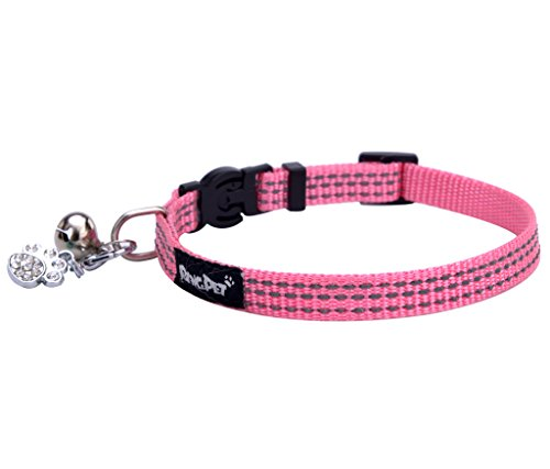 BINGPET Safety Nylon Reflective Cat Collar Breakaway Adjustable Cats Collars with Bell and Bling Paw Charm, Light Pink
