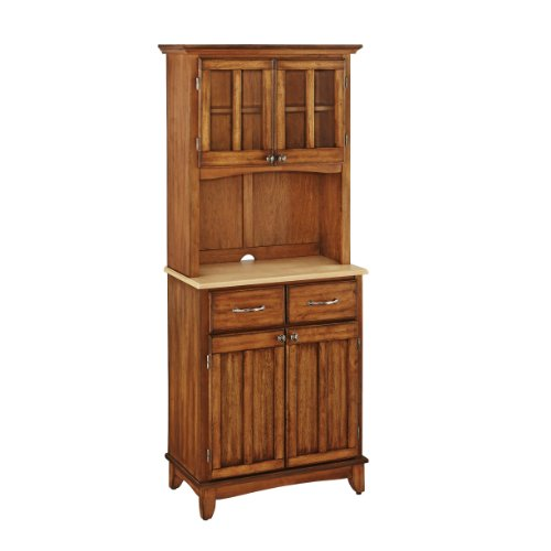 Dining Room Natural Wood Hutch (Home Styles 5001-0061-62 29-1/4-Inch 5001 Series Natural Wood Top Buffet and Hutch Storage, Cottage)