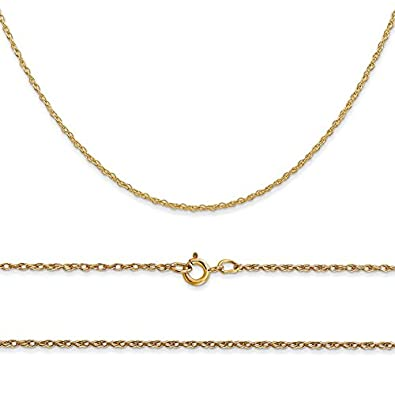 K/&C 10k Yellow Gold Double Heart Charm Holder on 14K Yellow Gold Carded Rope Chain Necklace