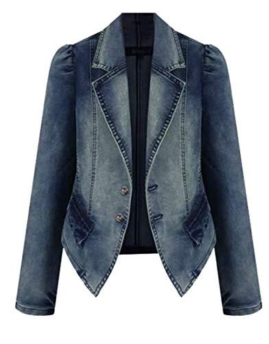 XTX Womens Stretch Coat Plus Size Blazer Jean Faux Faded Denim Jackets Blue 2XL