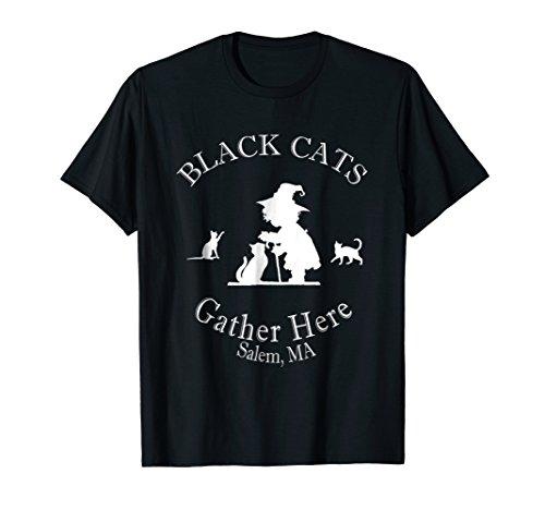 Black Cats Gather Here Salem, MA Halloween Witch TShirt ()