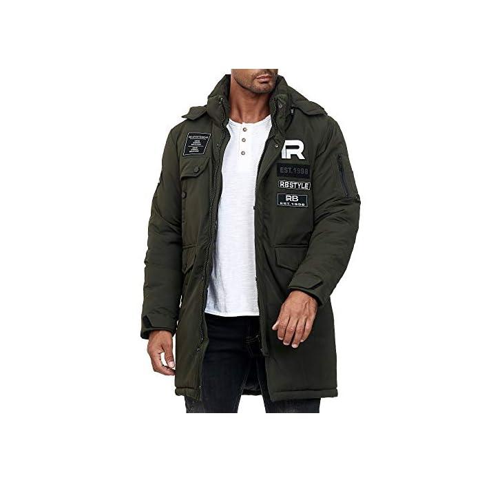 41JEFumk%2BcL Abrigo   Parka de invierno para hombres de la marca Redbridge Chaqueta de invierno cálida y moderna con capucha extraíble y muchos bolsillos prácticos 100% Poliéster