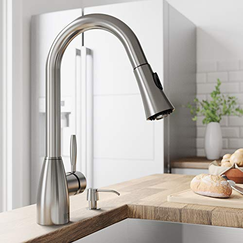 - VIGO VG02013ST Aylesbury 16 Inch Single Handle Pulldown Arc Brass Kitchen Sink Faucet, Single Hole Install, 360 Swivel Spout, Premium Seven Layer Plated Stainless Steel Finish
