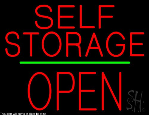 Self Storage Block Open Green Line Clear Backing Neon Sign 24'' Tall x 31'' Wide by The Sign Store