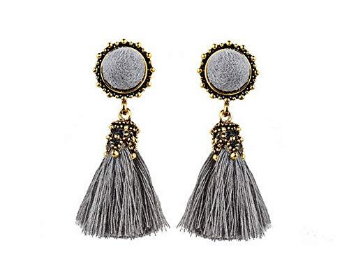 Tomikko Boho Women Thread Long Tassel Earrings Crystal Drop Statement Fringe Earrings | Model ERRNGS - 8101 |