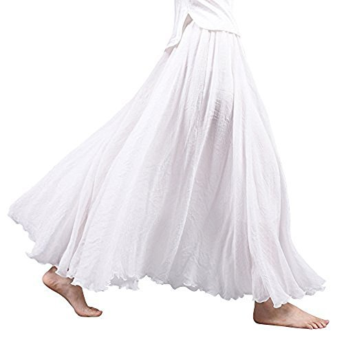Asher Women's Bohemian Style Elastic Waist Band Cotton Linen Long Maxi Skirt Dress (95CM, White)