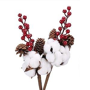 XHXSTORE 2PCS Fiori di Cotone Naturale Bouquet di Cono di Pino essiccato Naturale Bacca di Pino di Natale Artificiale per Matrimonio Artigianato di Natale Festa Decorazioni per la casa 3 spesavip