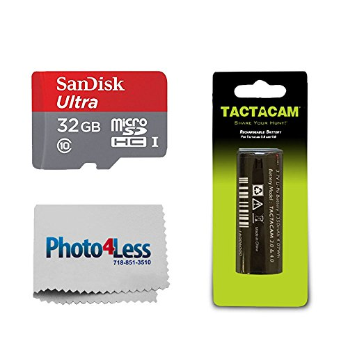 Tactacam Rechargeable Battery Solo 3.0/4.0/5.0, Bow & Gun Camera + SanDisk Ultra 32GB microSDHC UHS-I Card Adapter + Photo4Less Camera Lens Cleaning Cloth – Valued Bundle