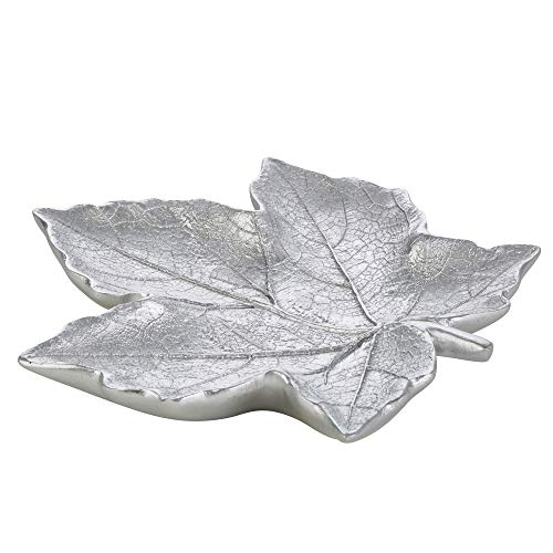 Sagebrook Home Decorative Resin Maple Leaf Plate, Silver, 10.5 x 9.75 x 1.25 Inches