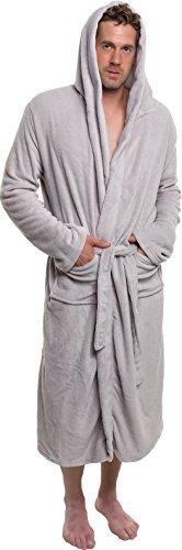 - Ross Michaels Mens Hooded Robe - Plush Shawl Kimono Bathrobe Light Grey, XXL