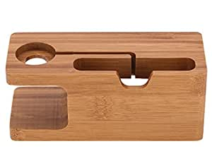 WOWO Apple Watch Stand,100% Natural Bamboo Wood. [Charging Dock]bamboo Wood Charger Station/dock /Cradle/ Holder-- for Apple Watch & All Iphone(4 4s 5 5s 6 Plus 6s SE) and Both 38mm and 42mm