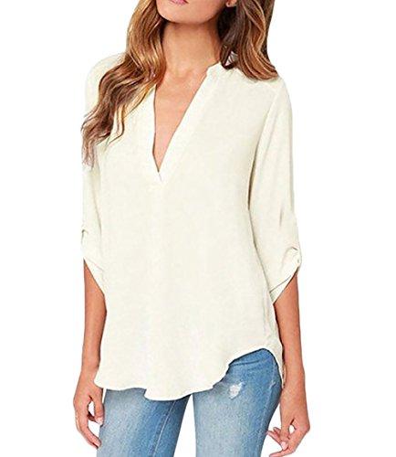 HaiDean Bluse Donna Manica Lunga V Neck Sciolto Camicia Chiffon Eleganti Semplice Glamorous Fashion Colori Solidi Casual Vintage Camicie Tunica Tops Autunno Modelli Bianca