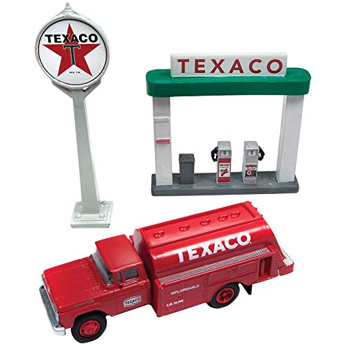 Texaco 1960 Ford Tank Truck, Sign, & Gas Pump Island - 1:87 Scale Die Cast