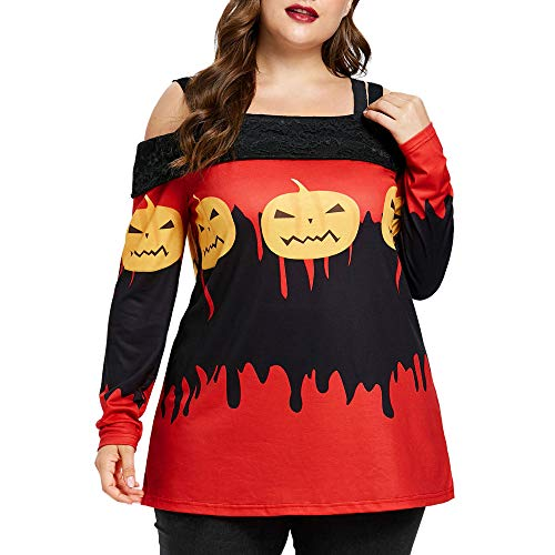 Misaky Halloween Blouse, Long Sleeve Pumpkin Print Sweatshirt Slash Neck Pullover Tops (Red , X-Large) -