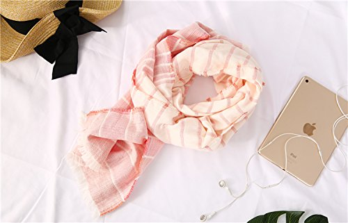 Cotton Striped Shawl Scarf Super Soft Long Lightweight Scarves For Women and Men (Small Size Orange) by Jeelow (Image #3)