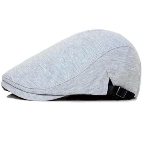 Vintage Cotton Mens Beret Cap Casual Flat Cap Solid Color Women Ivy Cap Plain Newsboy,Light Grey, ()