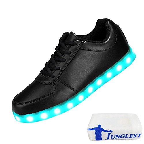 [Present:small towel]JUNGLEST® 7 Farbe USB Aufladen LED Leuchtend Sport Schuhe Sportschuhe Sneaker Turnschuhe für Unisex-Erwach Black ZBx8luC