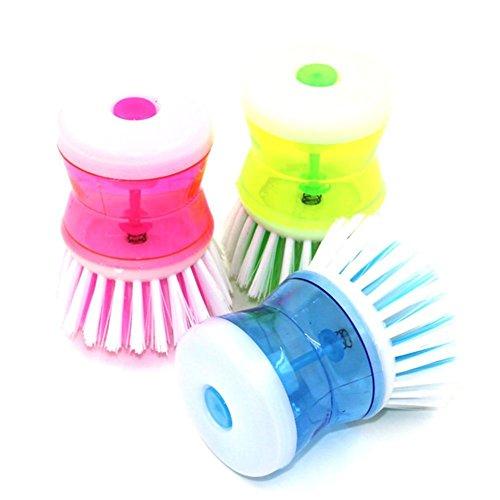Dish Panel Soap (ZEROYOYO Random Color Dish-washing Press Pan Brush with Washing Up Liquid Soap Dispenser Kitchen Utensil Pot Clean Brush Kitchen Tool)