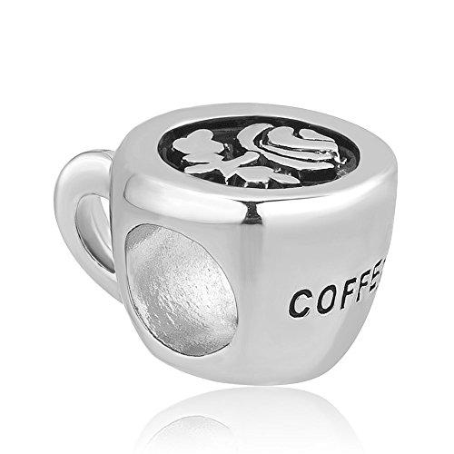 Korliya Coffee Cup Flower Charm Bead For Bracelets