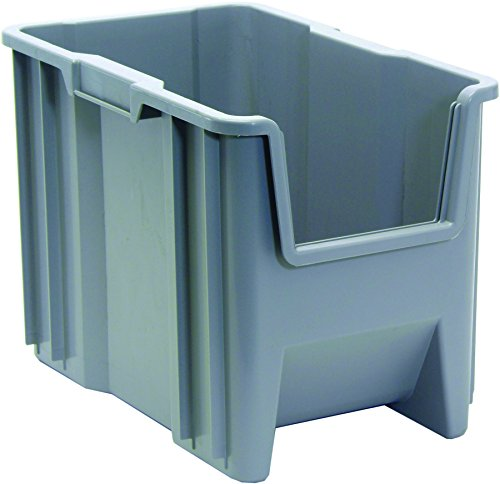 Quantum Storage Systems QGH600GY Multi-Purpose Giant Stacking Open Hopper Container, 17-1/2'' x 10-7/8'' x 12-1/2'', Grey (Pack of 4) by Quantum Storage Systems