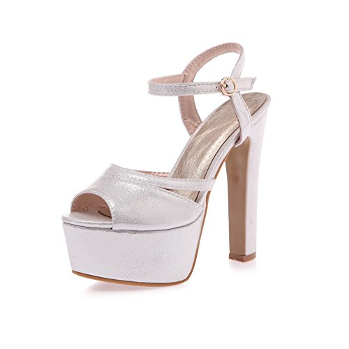 Adee Girls Dress Buckle Mary-Jane Polyurethane Sandals Silver kWN7Xihh