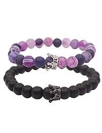 UEUC Distance Couple Bracelet with CZ Crown King&Queen Black Matte Agate & Purple Agate 8mm Beads Bracelet