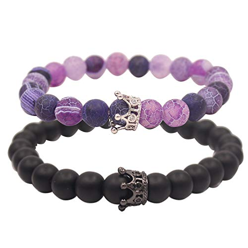UEUC Distance Couple Bracelet with CZ Crown King&Queen Black Matte Agate & Purple Agate 8mm Beads Bracelet ()