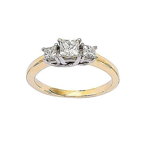 14kt Yellow Gold 3 Stone Princess Cut 0.75ct Diamond Trellis - Trellis Ring Cut Diamond