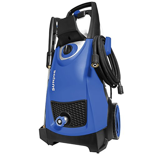 Dark blue pressure washer with an automatic shut-off feature.