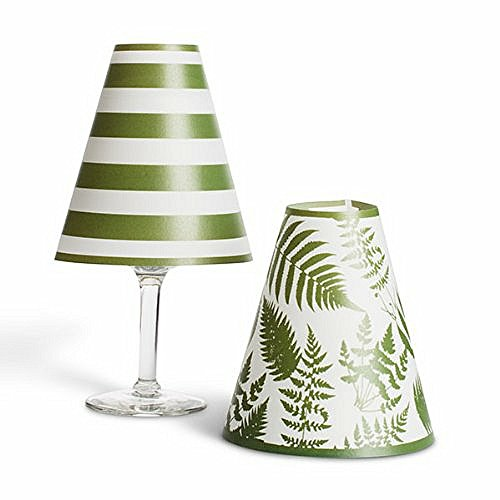 Lone Elm Studios Green Horizontal Stripes & Ferns Wine Glass Shades with LED ()