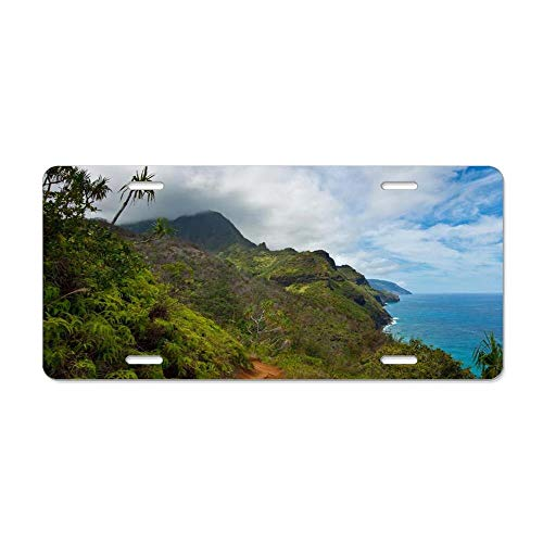 (FloralFlames Kalalau Trail, Kauai, Hawaii Personalized Novelty License Plates, Custom Decorative Front Car Tag for US Vehicles 12 x 6In)