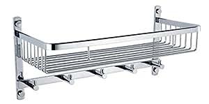 KES A2128 Bathroom Lavatory Rectangular Basket Shelf with Towel Hook Hanger Wall Mount, Polished Stainless Steel