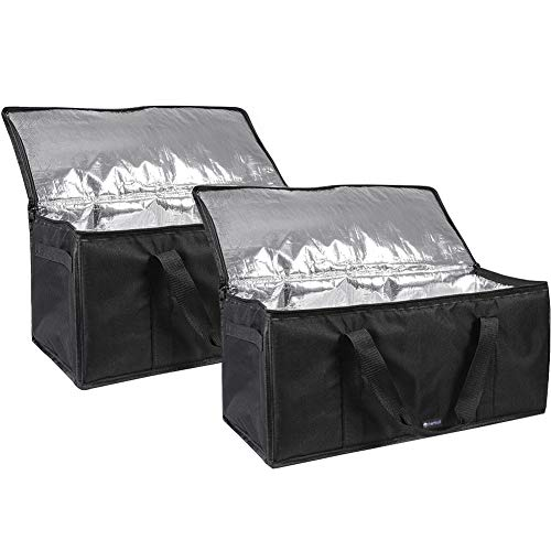 Meal Cart Delivery (cherrboll Insulated Food Delivery Bags (Set of 2), Large Lunch Bags, Catering Food Warmers, Thick Insulation for Restaurant Reusable Grocery Shopping - 22