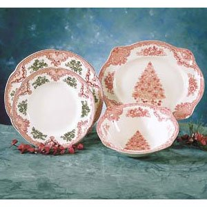 Johnson Brothers Old Britain Castles 9-Inch Pink Christmas Tree Vegetable Round Bowl 2425501034