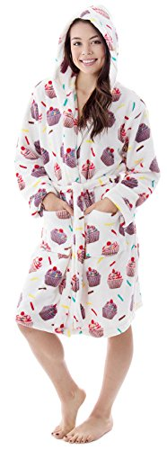 Livingston Teens Classic Flannel Long Sleeve Bath Robes For Women Cupcakes (Cupcake Flannel)