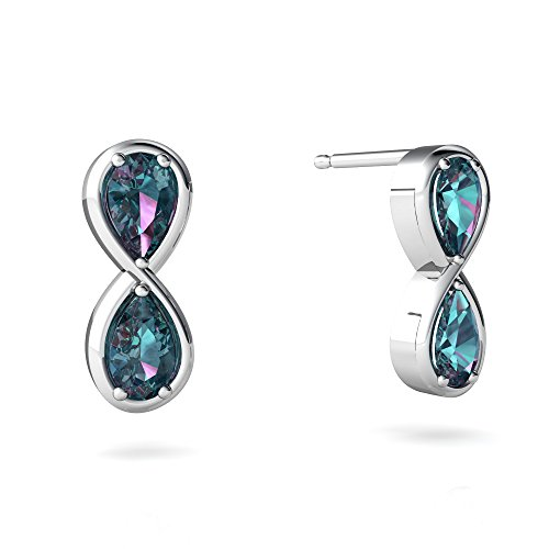 (14kt White Gold Lab Alexandrite 5x3mm Pear Infinity Earrings)