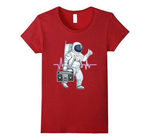 Womens Retro Astronaut T-Shirt Space Boombox Graphic Shirt Hip Hop Large Cranberry