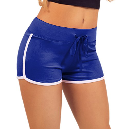 Women's Active Fitted Jersey Trim Adjustable Drawstring Mini Shorts,Medium,Brilliant Blue by HOT FROM HOLLYWOOD