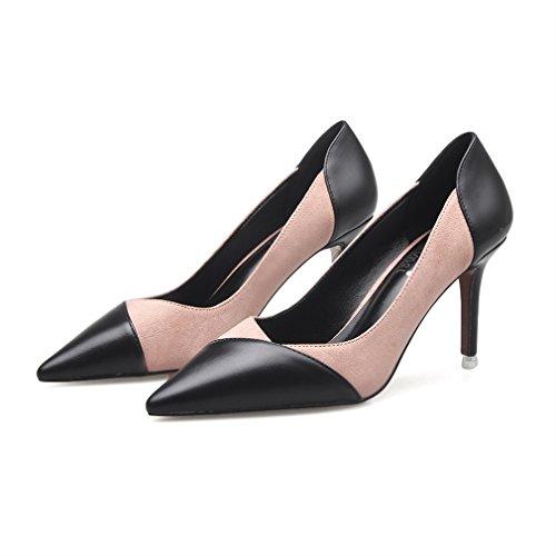 Court Heel Nu Fashion Blocking High Color Xianshu Toe Womens Shoes Pointe Mosaic Ladies HBqnvF