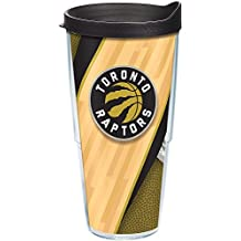 Tervis 1200393 NBA Toronto Raptors Court Tumbler with Wrap and Black Lid 24oz, Clear