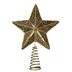 Kurt Adler 6-1/4-Inch Gold Wire Star Treetop