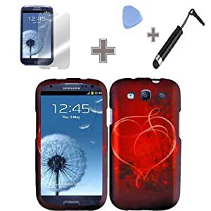 Bloutina (4 Items Combo : Case - Screen Protector Film - Case Opener - Stylus Pen) Rubberized Red White Heart on Stars...