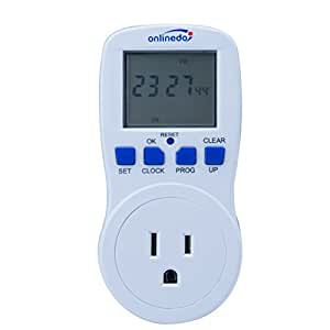 15A/1800W 7-Day Programmable Timer Outlet, Plug-in Wall LCD Digital Electrical Timer Switch with 3-prong Outlet, UL Listed