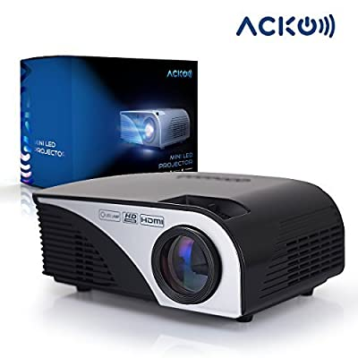 "Acko Portable Mini LED Projector Office Home Theater 1200 LM Multimedia Outdoor Projector 20""-150"" Screen HDMI VGA USB AV SD Audio Out 1080P Tablet Computers Black Warranty Included"
