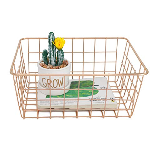Metal Wire Storage Basket with Handles for Kitchen Food Pantry Papers Home Office Desk Basket Bathroom Laundry Room Basket Bedroom Bed Room, French - Brass Basket