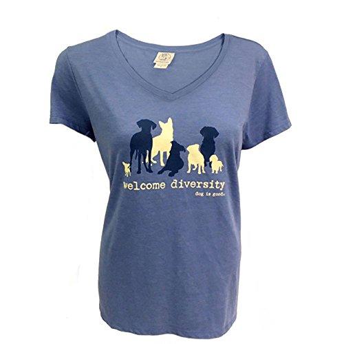 (Dog is Good Womens Welcome Diversity T-Shirt (Blue, Medium) )