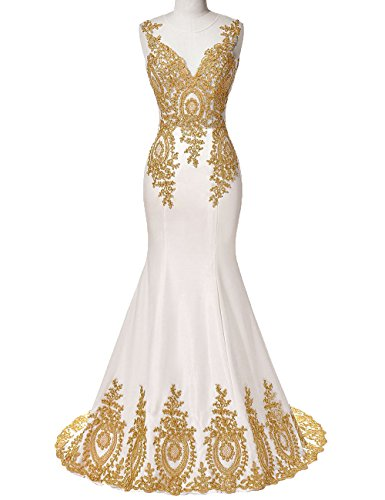 Dresses Illusion Lace Mermaid Women's Appliques DYS Ivory Prom Evening Neck Formal P8gx0