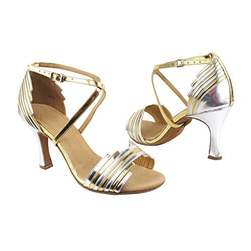 Se1700 Dance Evening Dress Shoes:Gold/Silver Trim, 2.5